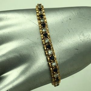 Jewelry - Gold Over STER Silver Sapphire Tennis Bracelet